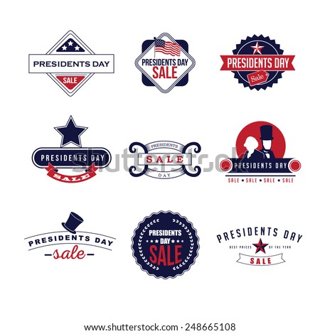 Presidents Day sale Icon Insignia Set EPS 10 vector royalty free stock illustration perfect for ads, posters, marketing, blog, website - stock vector