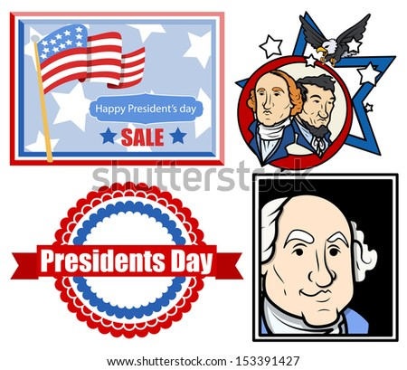 Presidents Day USA Theme Vector Set Designs