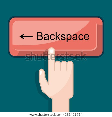 press button backspace - stock vector