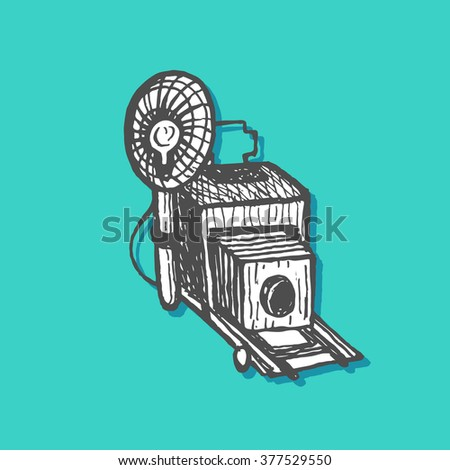 Press camera. Vector illustration for a poster, flyer, website icon. Retro historical camera. Vintage style, hand drawn pen and ink - stock vector