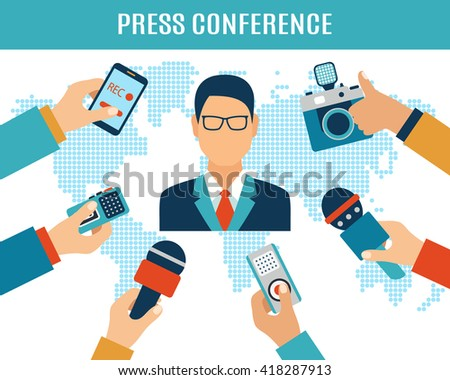 Press conference, election, interview, live report, mass media concept. Vector illustration in flat style of many hands with microphones, recorders and speaker giving interview.