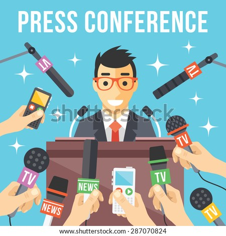 Press conference. Live report, live news concept. Many hands of journalists with microphones, dictaphones and handsome smiling man standing at the rostrum and giving interview. Vector illustration - stock vector