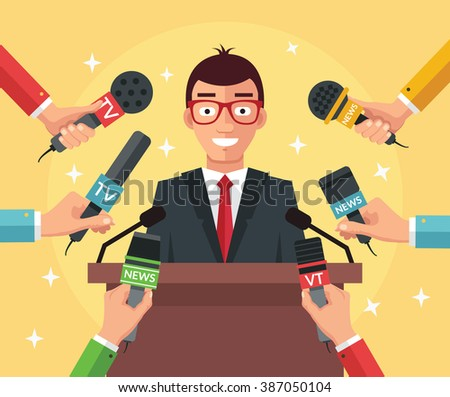 Press conference. Vector flat illustration - stock vector