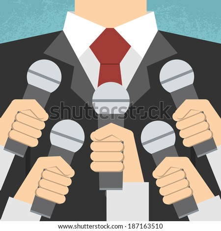 Press conference with media microphones - stock vector