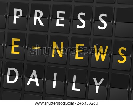 press e-news daily words on airport board background - stock vector