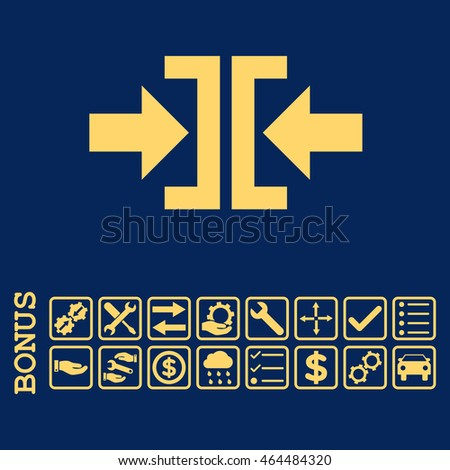 Press Horizontal Direction icon with bonus pictograms. Vector style is flat iconic symbol, yellow color, blue background. Bonus style is square rounded frames with symbols inside.