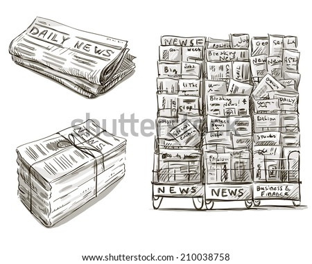 Press. Newspaper stand. Newsstand. Vector illustration. Hand drawn.  - stock vector