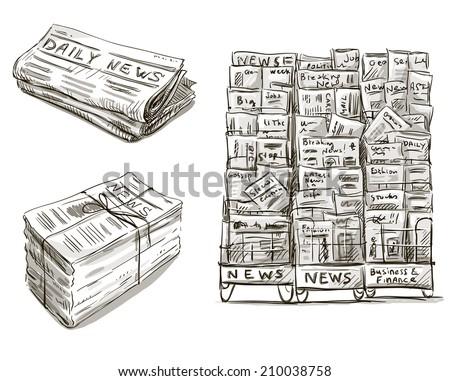 Press. Newspaper stand. Newsstand. Vector illustration. Hand drawn.  - stock vector