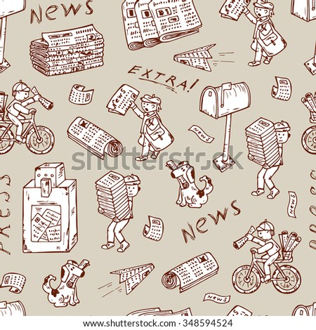 Press. Newspapers. Vector Seamless pattern: stacks and rolls of newspapers, postman, paperboys, newspaper vending machine, mailbox - Hand Drawn Doodles illustration