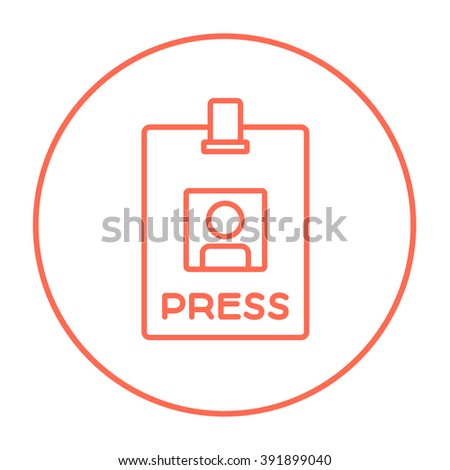 Press pass ID card line icon. - stock vector