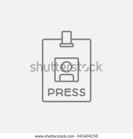 Press pass ID card line icon for web, mobile and infographics. Vector dark grey icon isolated on light grey background. - stock vector