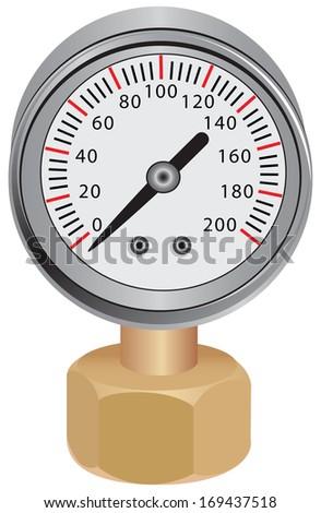 Pressure gauge, measuring instrument of pressure in the pipeline. Vector illustration. - stock vector
