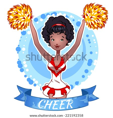 Pretty African American girl. Cheerleader with Pom Poms. Vector clip-art illustration on a white background. - stock vector