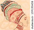 Pretty African American Girl in traditional turban. Profile view.  - stock vector