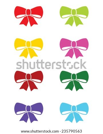 Pretty and Colorful Vector Christmas Bow Set