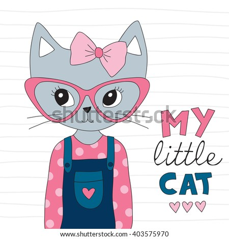 pretty and cute cat in jeans vector illustration - stock vector