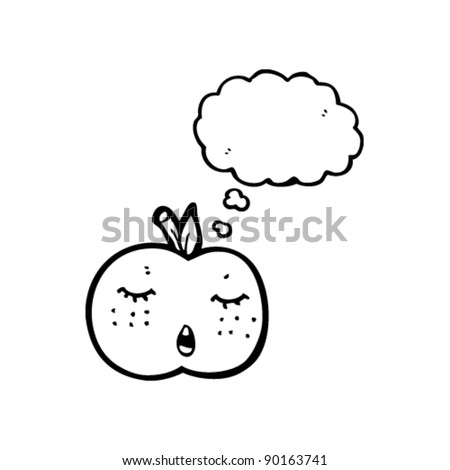 pretty apple cartoon with thought bubble