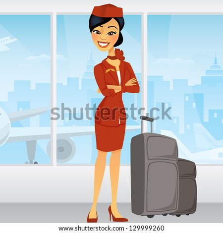 Pretty Asian Flight Attendant with luggage and an airplane in the window behind her - stock vector