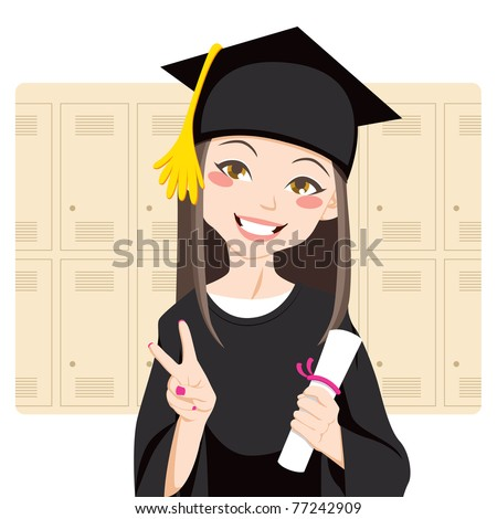 Pretty asian woman smiling in front of lockers holding diploma in her hand and making victory sign - stock vector