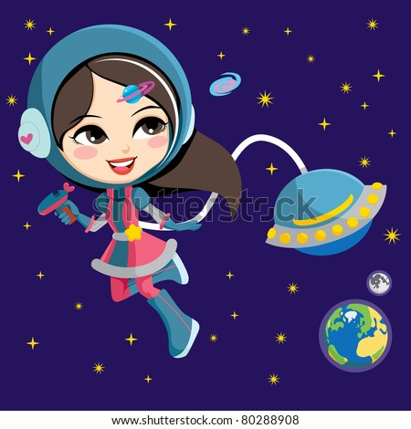 Pretty astronaut fashion girl exploring space from her flying ship orbiting the earth - stock vector