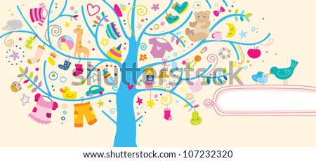 Pretty background with baby elements and space for some text. - stock vector
