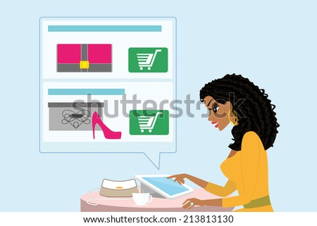 Pretty blackhair woman sitting alone in the cafe and doing shopping online. - stock vector