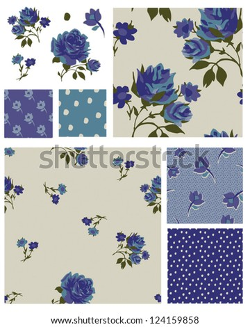 Pretty Blue Rose Floral Seamless Patterns and Icons. Use as fills, digital paper, or print off onto fabric to create unique items. - stock vector