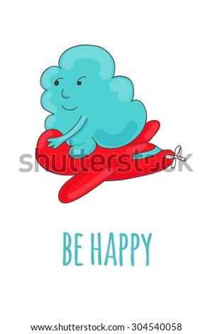 Pretty card with a cartoon cloud, that rides on the airplane. - stock vector