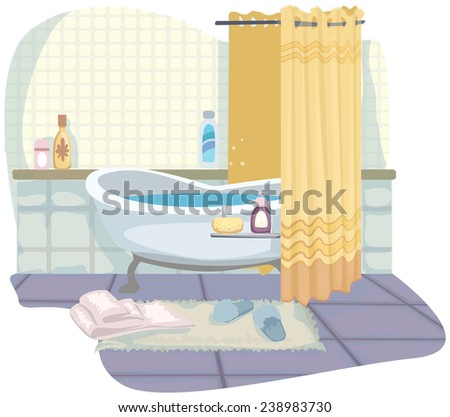 pretty cartoon bathroom, with bath, vector illustration - stock vector