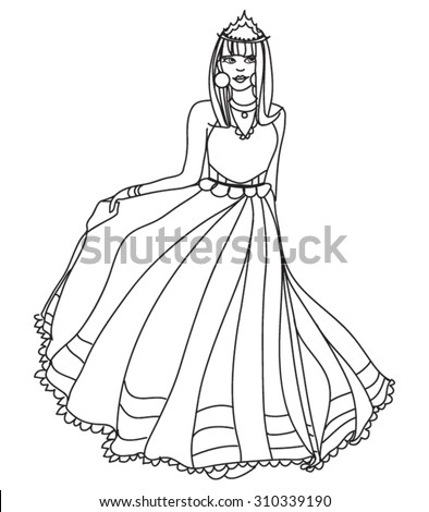 Beautiful Princess Coloring Book Page Vector Stock