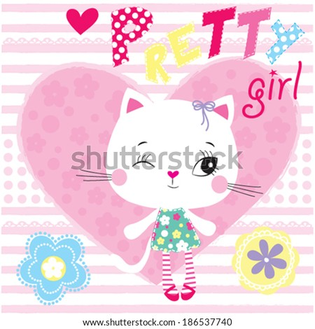 pretty cat girl and striped background vector illustration - stock vector