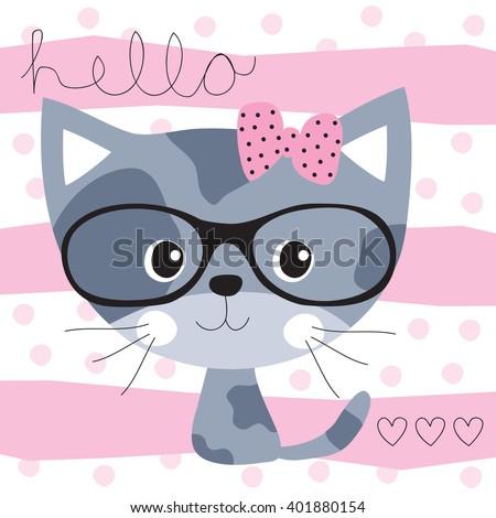 pretty cat vector illustration - stock vector