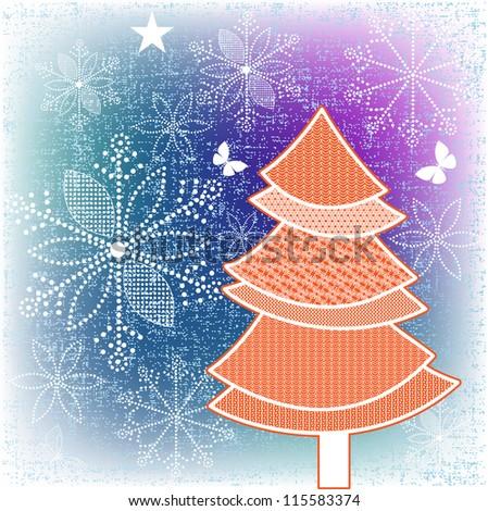Pretty Christmas  tree - stock vector