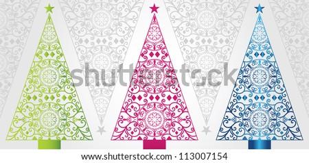 pretty christmas trees - stock vector