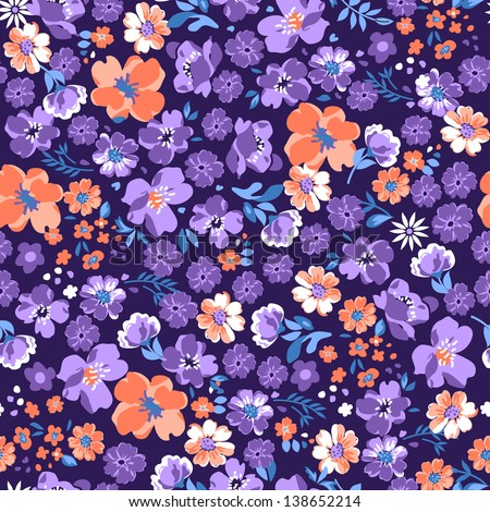 pretty ditsy floral seamless background - stock vector