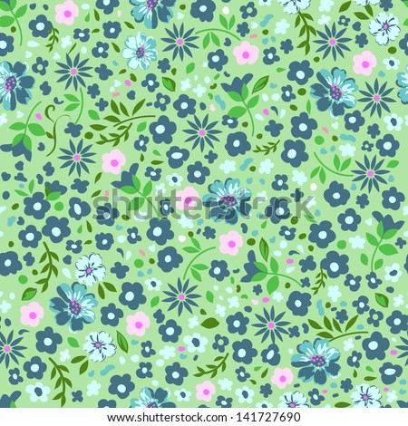 pretty ditsy green seamless background - stock vector