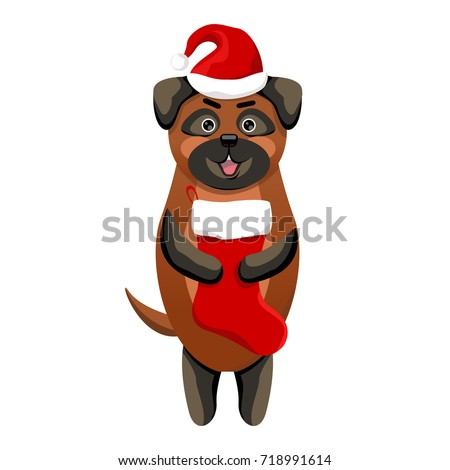 Pretty dog pug in Santa's hat and with red and white stocking in his paws. Christmas and New Year 2018. Festive vector illustration with animal symbol of the year in China, isolated. Sock for gifts
