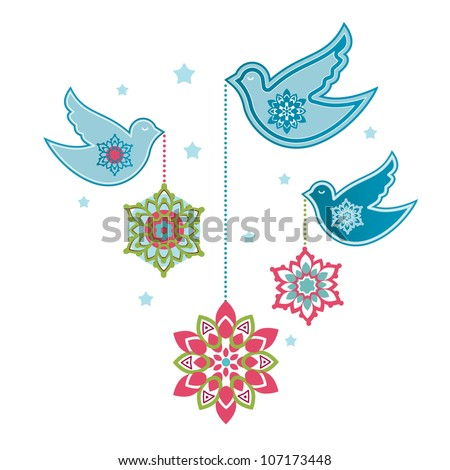 Pretty doves with hanging flowers / snowflakes / baubles - stock vector