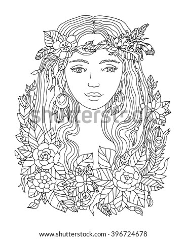 Pretty elegant girl with wreath. Coloring book page for adult. Vector artwork. Hand drawn amazing portrait. Love bohemia concept for wedding invitation, card, ticket, branding, boutique logo, label - stock vector