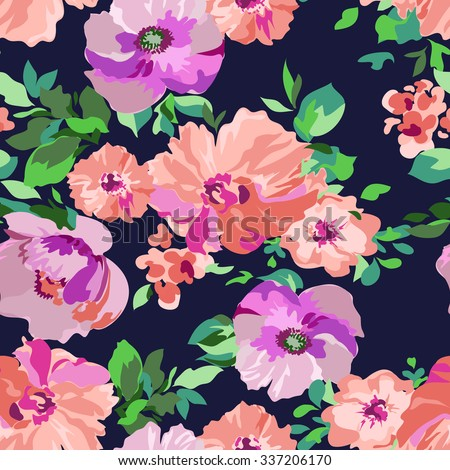 pretty floral print ~ seamless background - stock vector
