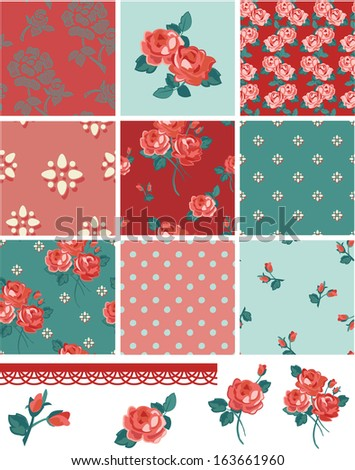 Pretty Floral Rose Seamless Vector Patchwork Patterns and Elements. Use as fills, digital paper, or print off onto fabric to create unique items. - stock vector