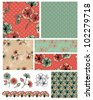 Pretty Floral Vector Seamless Patterns and icons.  Use to create Digital paper or textile projects. - stock photo