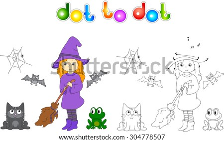 Pretty friendly witch with a broomstick, bats, black cat and frog. Connect dots and get image. Educational game for kids. Vector illustration for children