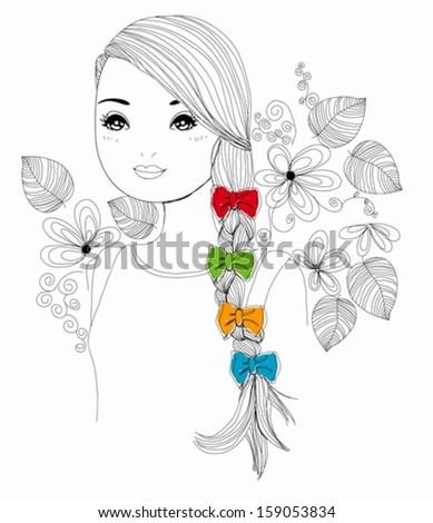 Pretty girl - stock vector