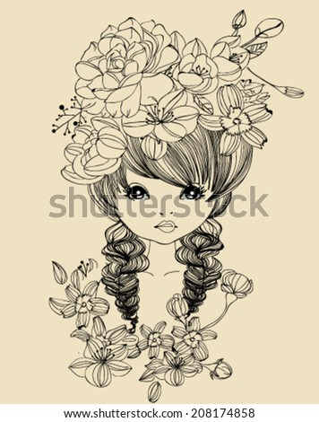 Pretty girl and flower - stock vector