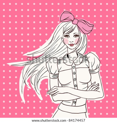 pretty girl doodle on a spotted background (eye contact) - stock vector