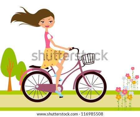 Pretty girl goes on bicycle - stock vector