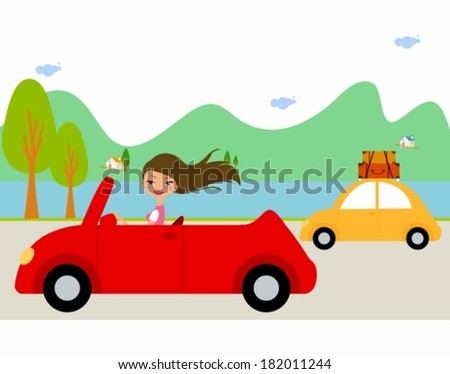 Pretty girl in red car - stock vector