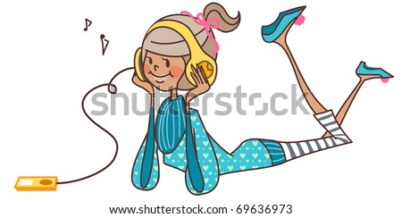 pretty girl listen to music with headphone - stock vector