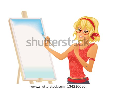 Pretty girl painting - stock vector